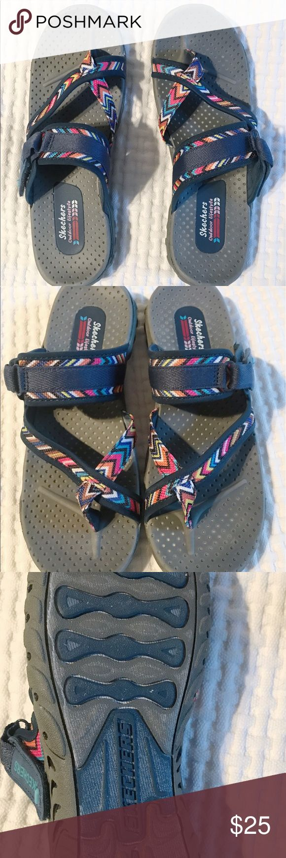 Skechers Go Walk Outdoor Living Sandals Brand new, never been worn! Skecher outdoor lifestyle sandals. Have amazing arch support and are made for walking! The most comfortable sandal known to man. Adjustable strap across the top of foot for changing tightness. Funky and stylish pattern! Skechers Shoes Sandals