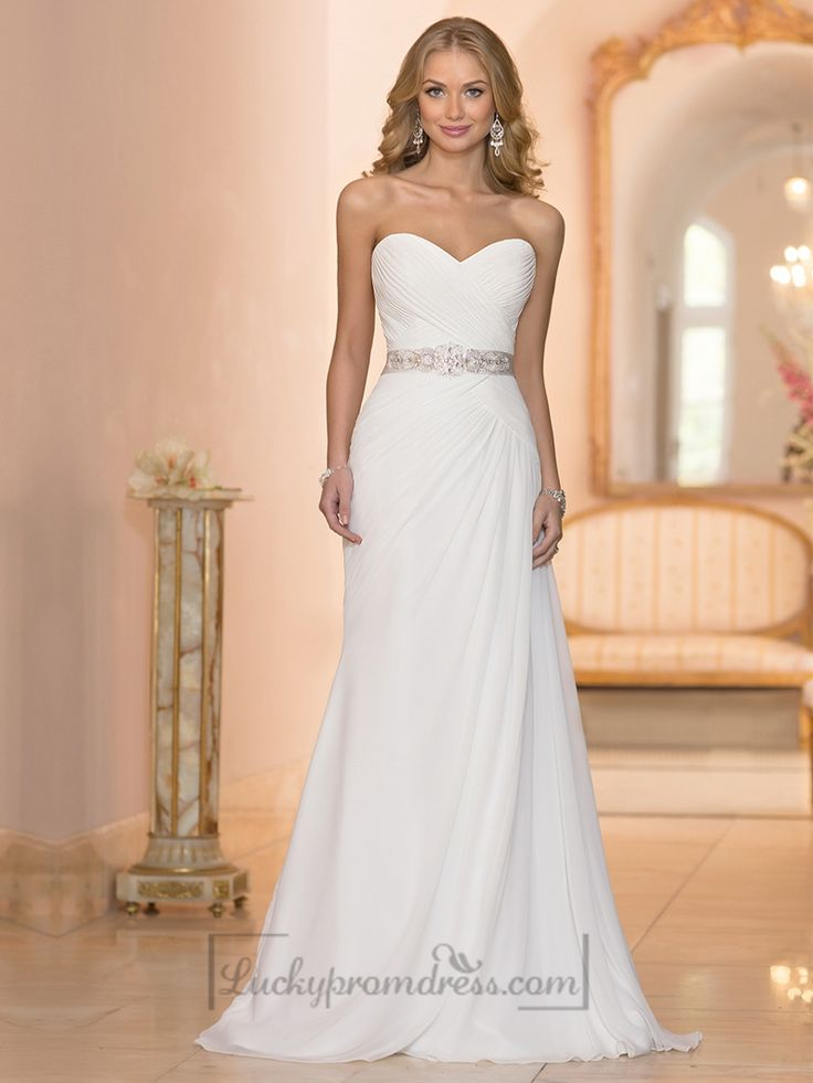 Chiffon Sheath Criss-cross Sweetheart Ruched Bodice Wedding Dresses