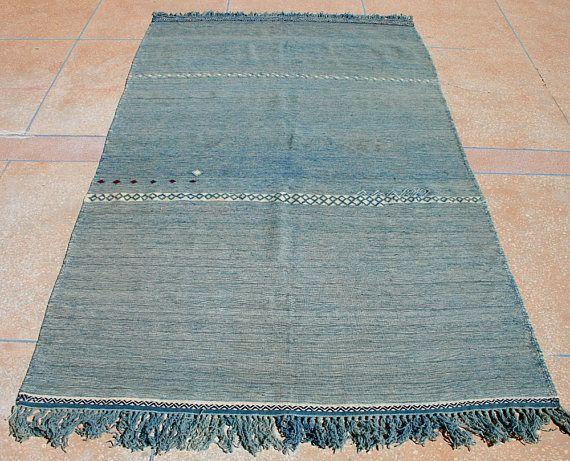 Marokkanische Decke Blauer Überwurf Kelim Teppich Blau Weiß