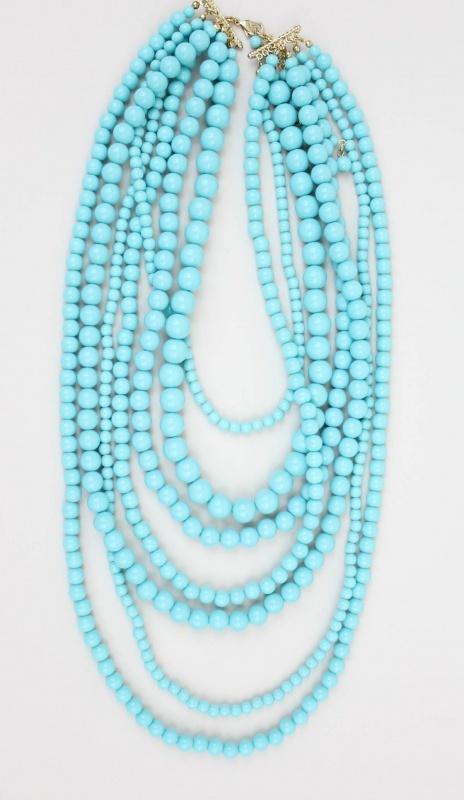 Pastel Blue Multi Strand Necklace