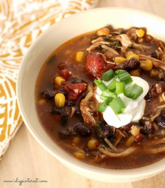 I Dig Pinterest: Skinny Crock Pot Chicken Enchilada Soup