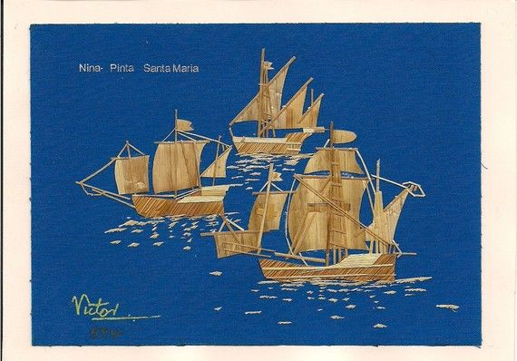 Nina Pinta Santa Maria  Tall Ships hand crafted with rice straw by museumshop, $12.99. Signed & numbered collectible leaf art. Limited edition collectible lead art.: Columbus Ships, Ships Hands, Ships Handmade, Amazing Artworks, Art Collection, Leaf Art, Gifts Columbus, Rice Plants, Collection Art
