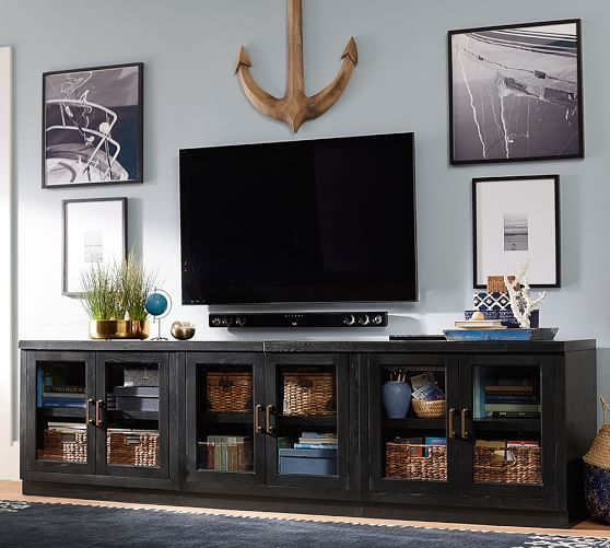 Reynolds Long Low Media Suite   Pottery Barn - Like the picture and accessory display on the wall around TV and soundbar