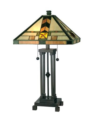 Table Lamp DALE TIFFANY Mission 2-Light Dark Antique Bronze Metal New Han DY-205