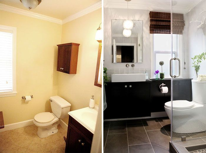 Powder Room Renovation - Becomes Full Bath With Hidden Storage - We turned our very small 6 x 6 ft powder room into a full bathroom by moving a window and some…