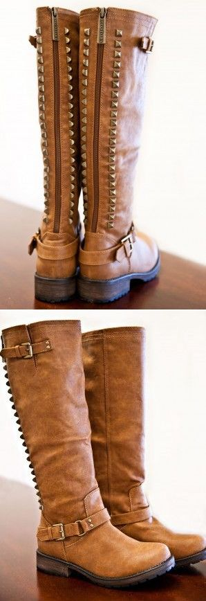Studded Boots in Cognac Brown #boots #shoes