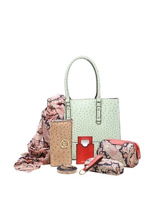 61% OFF Emilie M. Women's Kimberley Ostrich Tote + Essentials Box, Mint Green Ostrich