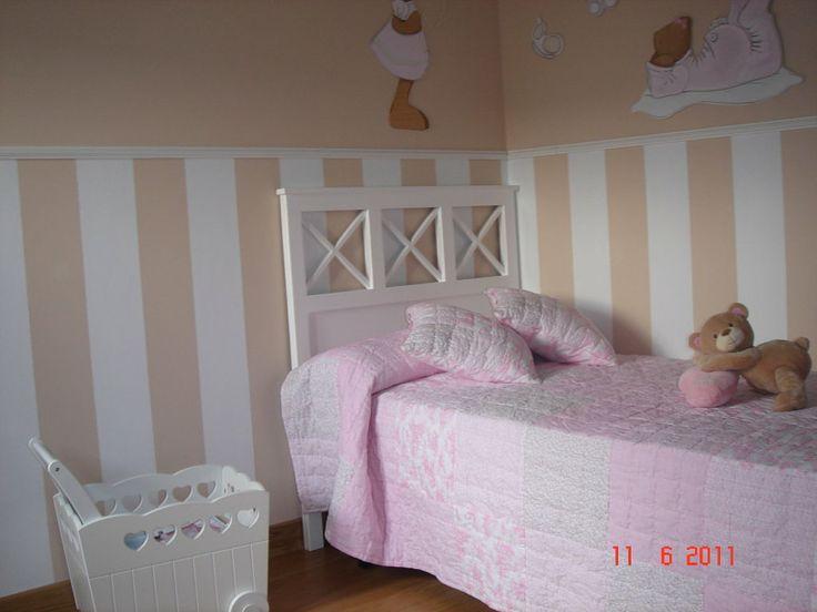 Habitaci n de ni a en verde rosa blanco decorar tu casa - Habitacion infantil rosa ...