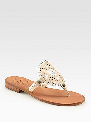 Jack Rogers Georgica Leather Thong Sandals