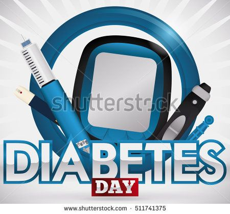 Design for World Diabetes Day with elements for measurement and treatment of this disease: glucometer, test strip, lancet, spare part and insulin injection over a blue circle.