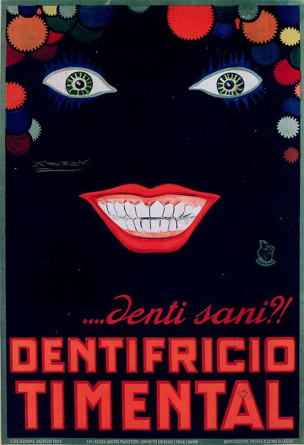 Vintage Ad - art by Achille Luciano Mauzan, Timental toothpaste,1923