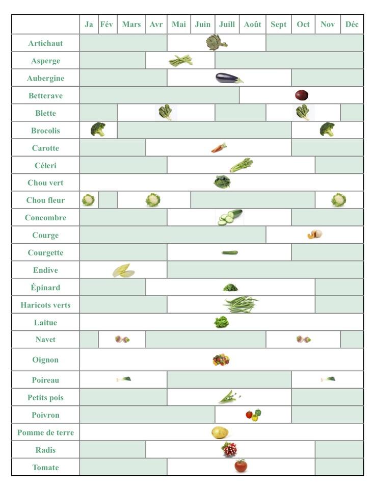 Inspirant pour le marché ! Le calendrier des légumes de saison.