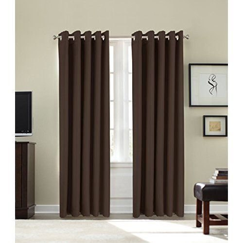 "Papa Jones Ltd FAUX SILK LINED CURTAINS WITH EYELET RING TOP 9 COLOURS, 4 SIZES. (Chocolate Brown, 66 x 90"")"