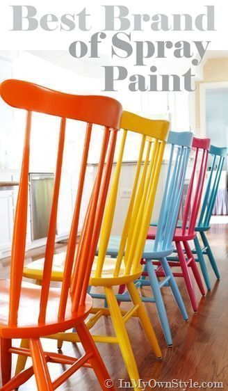 Furniture makeover. The best spray paint for kitchen chairs by In My Own Style