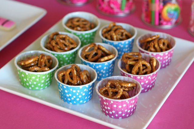 easy kid birthday party snacks | Simple snacks of fresh fruit (above) and pretzels (below) were served ...
