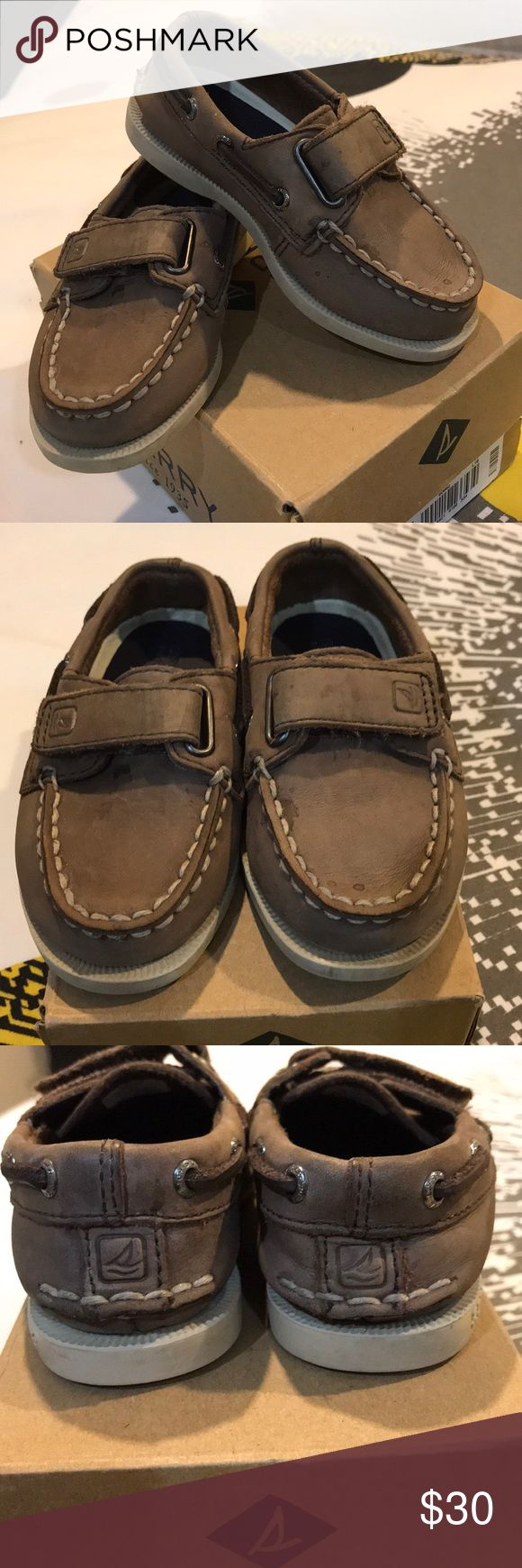 Sperry loafers Adorable and so tiny loafers! You can dress them up or dress them down. They are size 6 1/5. They do run smaller though he was a five or five in a half when we got them. We went a hole size up. They are brown color Sperry Shoes Dress Shoes