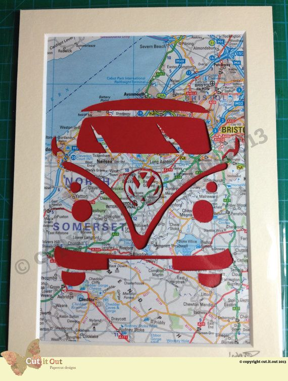 Camper Map Cut Out - Original Design by Cut It Out - VW Camper Van Bristol on Etsy, $17.11