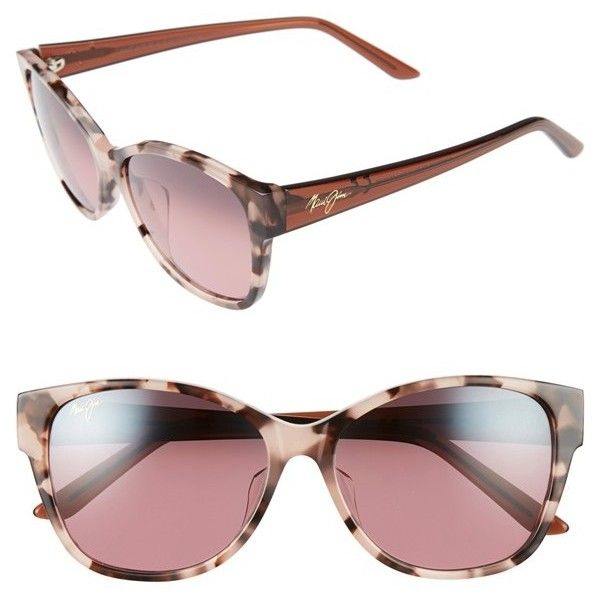 Women's Maui Jim Summer Time 54Mm Polarizedplus2 Cat Eye Sunglasses (€295) ❤ liked on Polyvore featuring accessories, eyewear, sunglasses, embellished cat eye sunglasses, summer sunglasses, retro cat eye glasses, logo sunglasses and glare reducing glasses