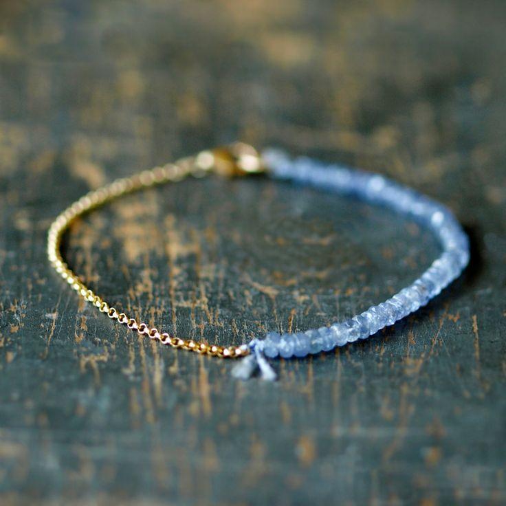 Tanzanite Gemstone Bracelet Precious Gem Gold Chain Delicate Handmade Jewelry. $98.00, via Etsy.