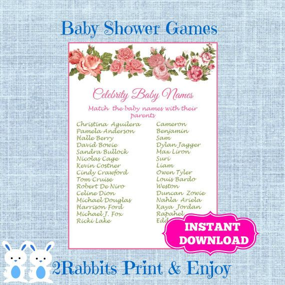 Floral Baby Shower Celebrity Baby Names Game, Flower Blossoms Baby Shower  Celebrity Name Game Instant Download  Much Up Game | Floral Baby Shower And  Top ...