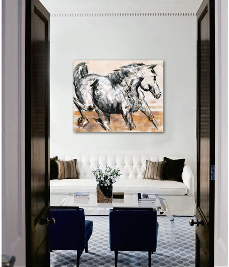 Horse Paintings On The Wall Modern Artist Mixed Media Interiors Design Home Decor Living Room