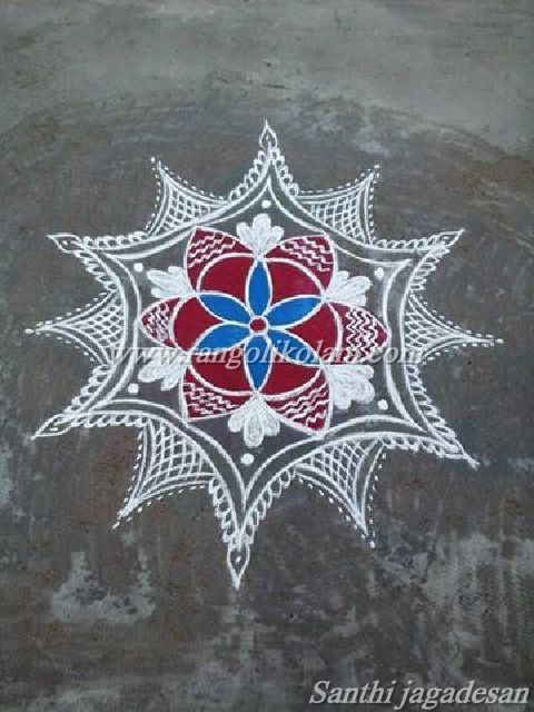 Free hand designkolam done by Santhi jagadesan*Today thoughts of kolam* One's life has value so long as one attributes value to the life of others .........