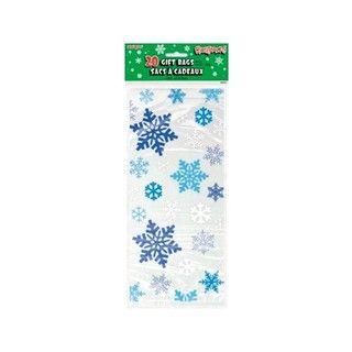 Snowflake Winter Frozen Xmas Cello Gift Lolly Loot Bags Inc Silver Ties 20 Piece