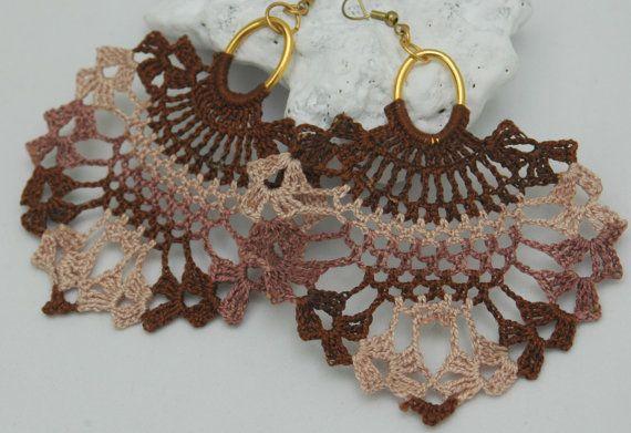 Crochet earrings  Large crochet earrings  Crochet by lindapaula, €13.00