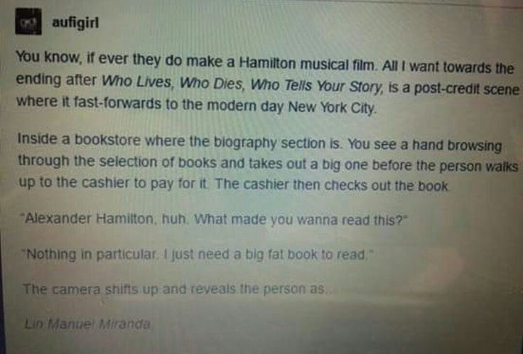 Don't think we need a Hamilton movie, but this would be such an amazing ending.