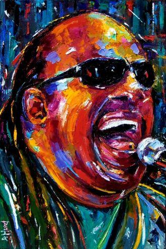 Stevie Wonder soul, rock, jazz, blues, art, painting, by Debra Hurd -- Debra Hurd