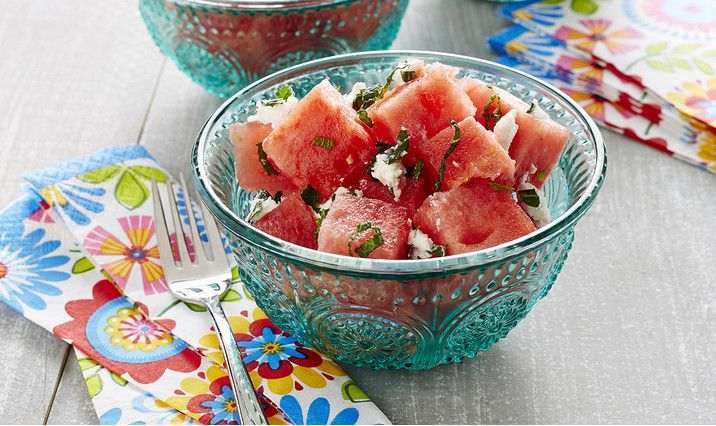 Watermelon Mint and Aged Goat Cheese Salad
