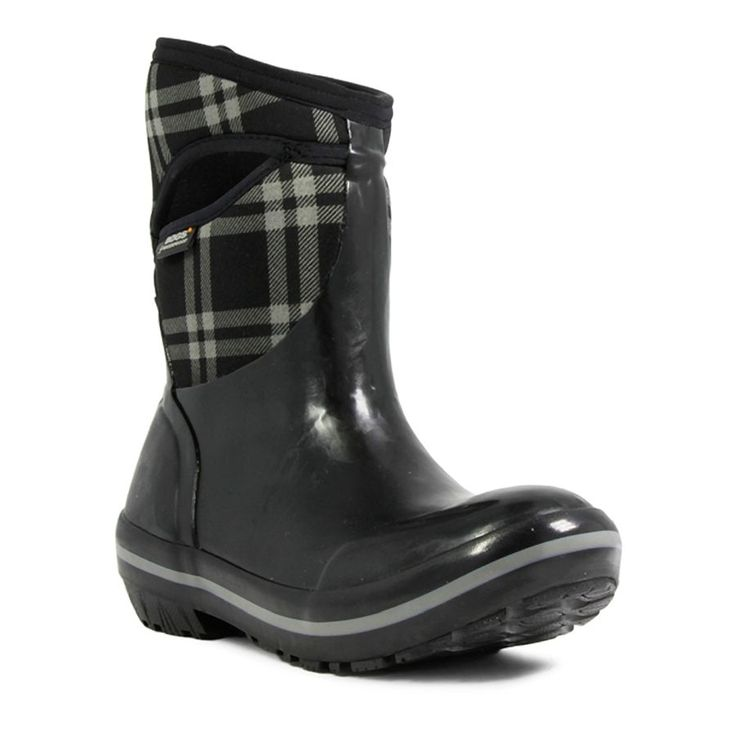 Bogs Women's Plimsoll Plaid Mid Black Waterproof Boots 71786-001