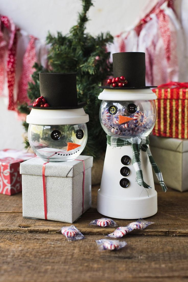 Holiday Snowman Candy Jar Decorating Idea 365