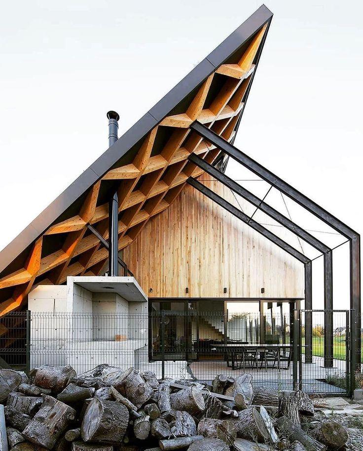 Casa atrás do telhado / projetado por Adam Healey.pracownia #house #housedesign #e …   – Architecture/Design