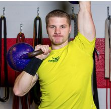 Perform a kettle bell press to improve your shoulders, stability, and muscular endurance.