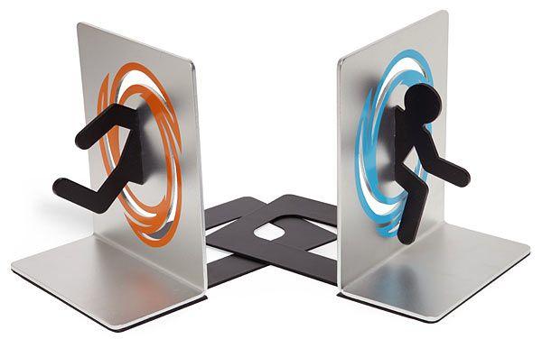 ThinkGeek :: Portal BookendsGeek, Portal Bookends, Book Holders, Videos Games, Gift Ideas, Shelves, Toys, Weights Loss, Portal 2