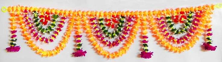 Cloth and Plastic Flower Door Toran - (Decorative Door Hanging) (Cloth and Plastic)