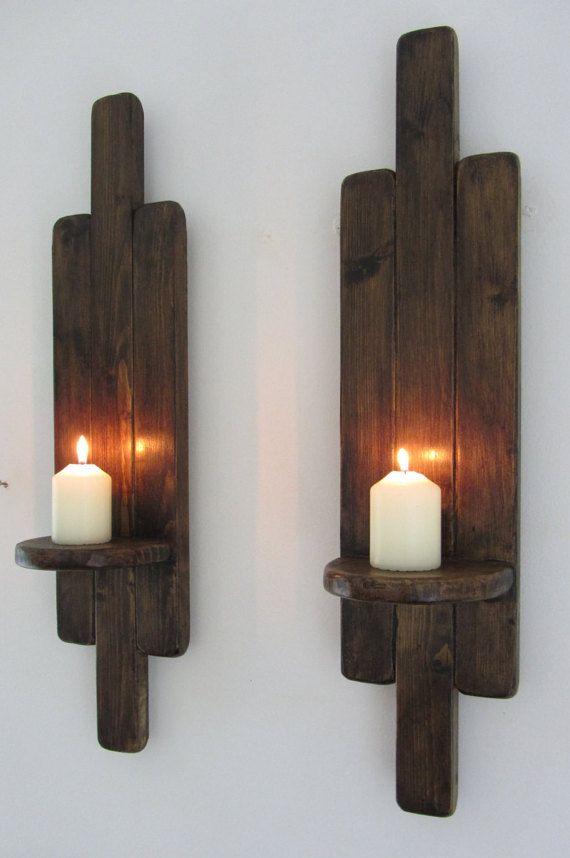 Coppia di 60cm altezza Art Deco stile rustico Applique a parete / candela titolari Led portacandele bonificata legno & giacobino cera rovere scuro