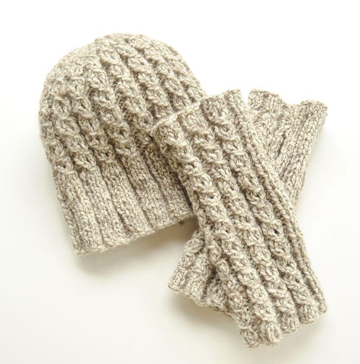 Knitting Pattern Hat Flat : Himalayas Hat & Handwarmers. Both knit flat in mock rib ...