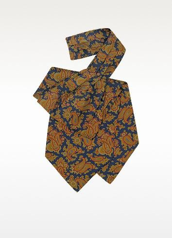 €49.00 | Beautifully crafted, elegant large paisley print silk ascot tie. 100% silk. Handmade in Italy. Signature envelope included.