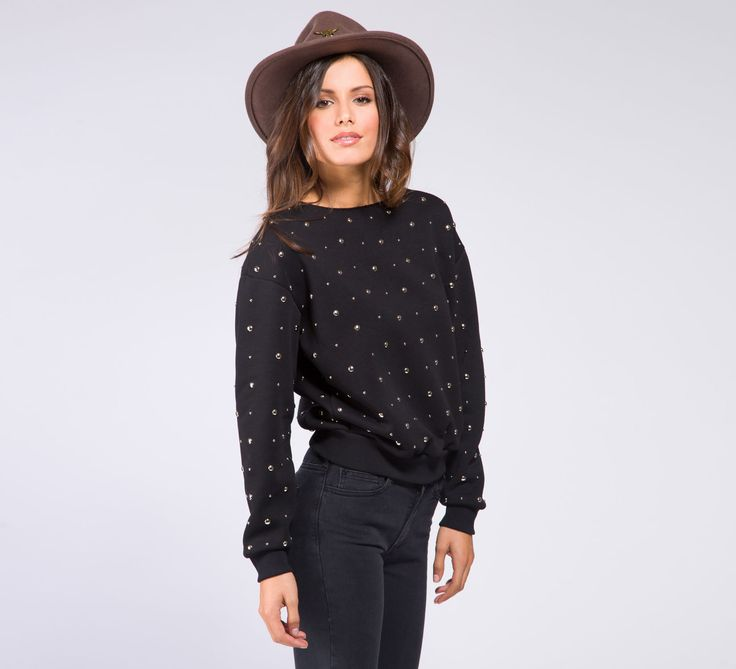 WFL153 - Cycle #cyclejeans #black #sweater #studded #studs