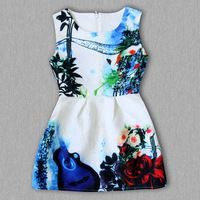 Girl Birthday Dress 3-8Y Print Designs Princess  Dresses For Girls Kids Party Solid Color Sleeveless Formal Clothes