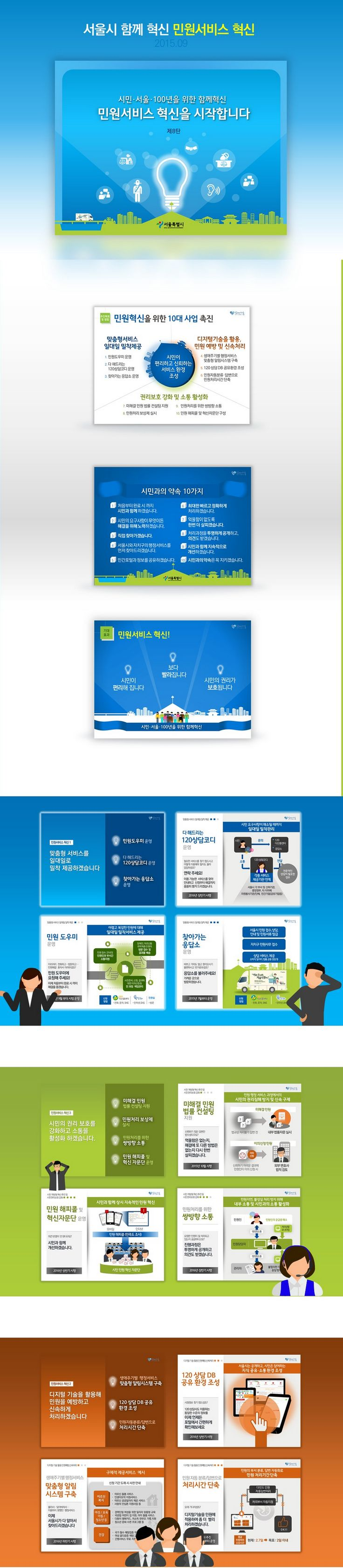 Presentation Design for Seoul Citizen Service. Design by ptwiz / Client : City of Seoul  서울시 시민소통기획관 민원서비스 혁신계획