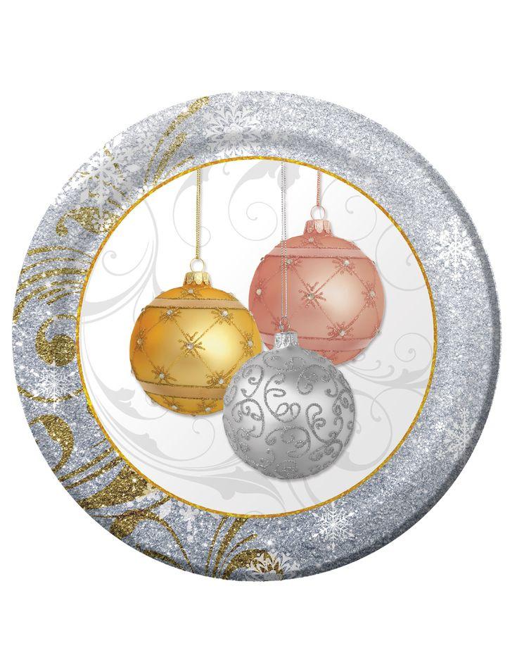8 Platos de cartón Bolas de Navidad 26 cm