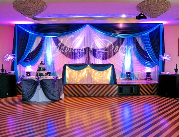 Wedding Reception Backdrop Lighting Amp Sweetheart Table Decor Royal PurpleTurquoise Amp White