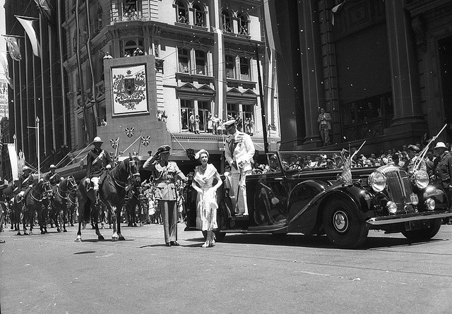 Queen Elizabeth arrives at the Cenotaph, Sydney, during the Royal Visit, 1954 / photographer Jack Hickson.  Find more detailed information about this photographic collection: http://acms.sl.nsw.gov.au/item/itemDetailPaged.aspx?itemID=139449    From the collection of the State Library of New South Wales www.sl.nsw.gov.au