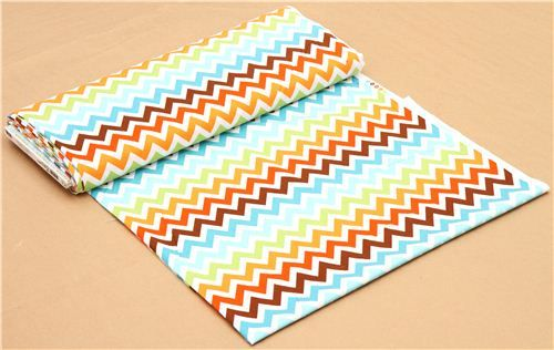 Robert Kaufman zig zag chevron fabric brown-blue Remix 4
