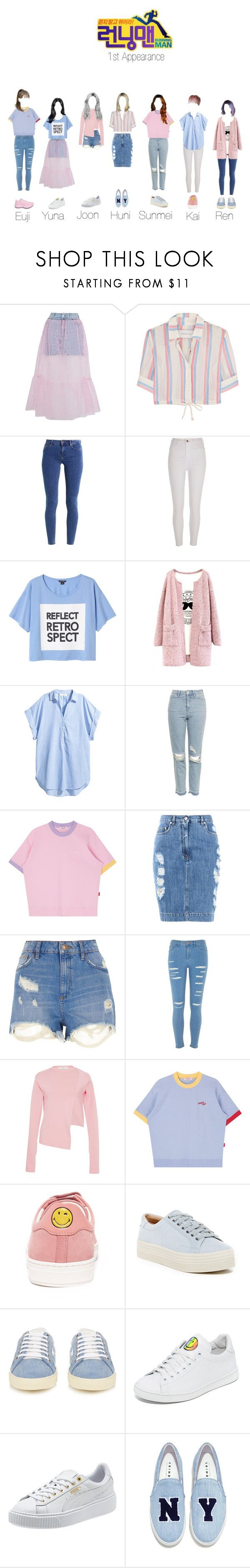 """""""Running man special quest"""" by official-angel ❤ liked on Polyvore featuring Topshop, Solid & Striped, even&odd, River Island, Monki, Moschino, TIBI, Anya Hindmarch, Marc Fisher LTD and Yves Saint Laurent"""