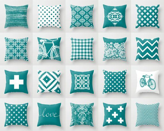 Sensational Teal Blue White Throw Pillow Mix And Match Indoor Outdoor Inzonedesignstudio Interior Chair Design Inzonedesignstudiocom