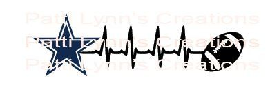 SVG Dallas Cowboys with Football Heartbeat by PattiLynnsCreations on Etsy
